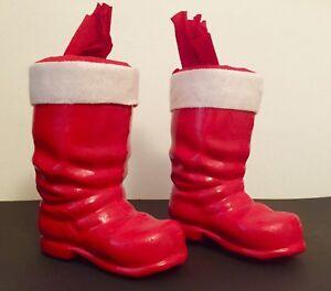 2-Stiefel-Weihnachtsmann-Nikolaus-Candy-Container-unbenutzt-ca-18-cm