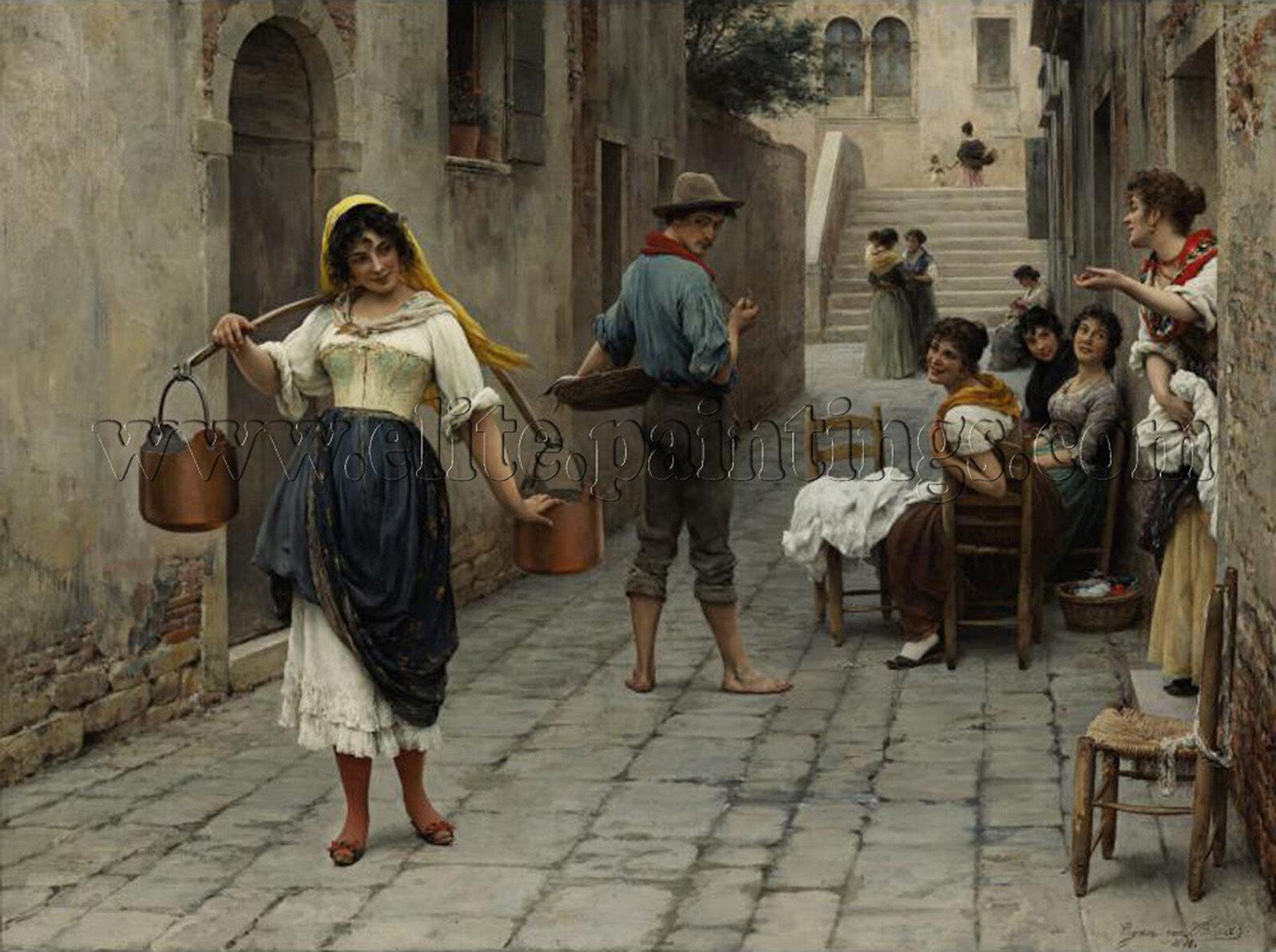 Blaas Eugene von Catch of the Day artista quadro dipinto olio su tela a mano