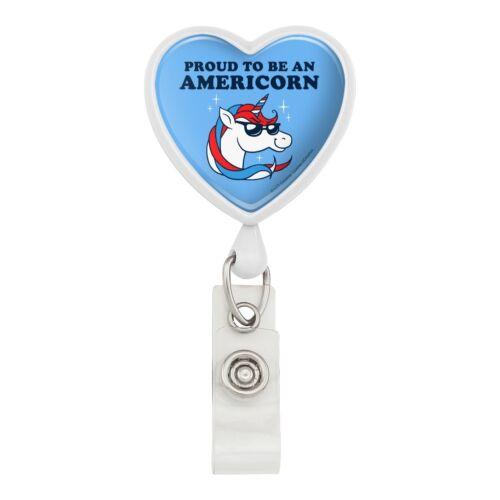 Proud To Be Americorn American Unicorn Heart Lanyard Reel Badge ID Card Holder