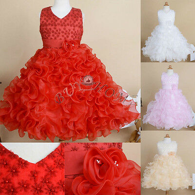 Flower Girl Princess Party Pageant Wedding Bridesmaid Tutu Gown Formal Dresses