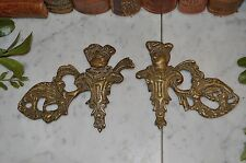 Antique French Pair of Bronze Figural Frenchman Furniture Mounts Decorative