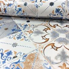 Wallpaper Debona Luxury Valencia Geometric Tile / Tiles - Orange & Blue - 5011