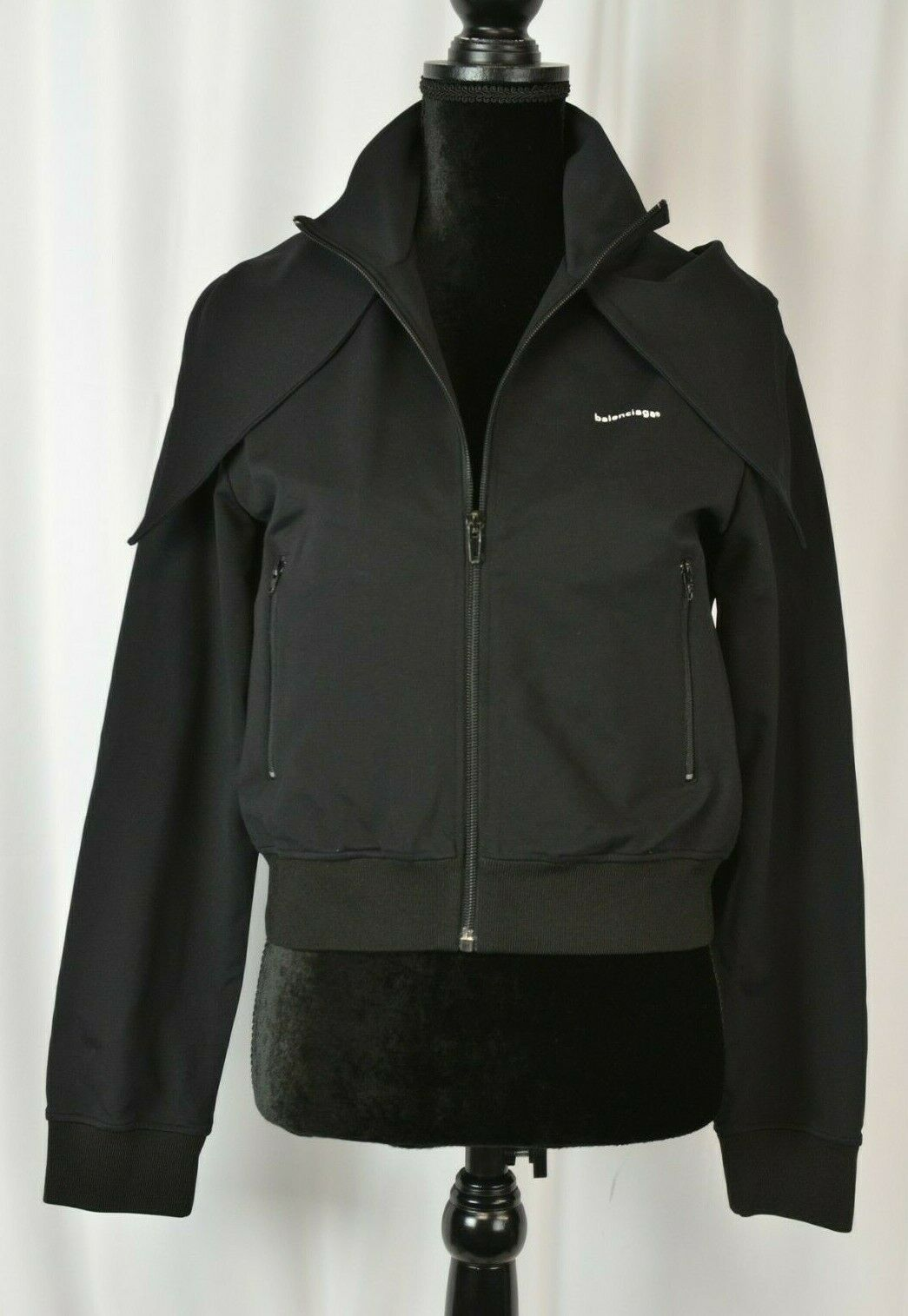 Balenciaga Women's Full Zip Hooded Jacket Size 44 Black Logo 8 US Cropped Boho
