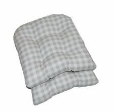 Incroyable Item 1 Set Of 2 ~ Gray Grey Country Plaid Tufted Wicker Chair Cushions ~  Indoor Cotton  Set Of 2 ~ Gray Grey Country Plaid Tufted Wicker Chair  Cushions ...