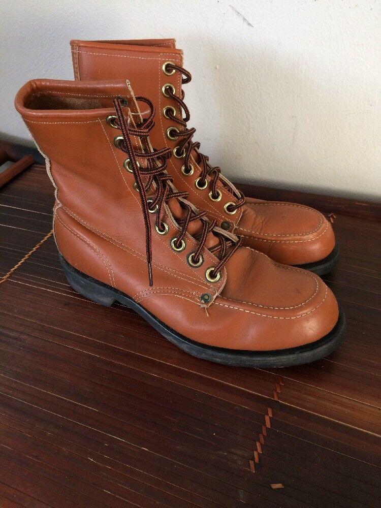 Vtg Plainsman 9 Eyelets USA Leather  Men's Biker  Riding Steel Toe Boots 8