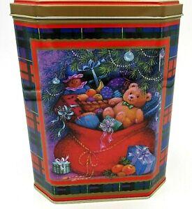 "Vintage Tin Christmas Teddy Bear Bag under Tree Octagon 4 x 5 1/2 x 7"""