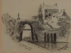 1903 Datierter & Unterzeichnet Original Zeichnung Von R Kuriertasche Kanal Seite