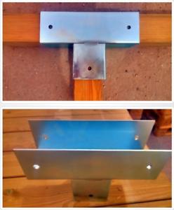 Soporte para uniones de 3 postes de madera 9x9 cm conector galvanizado para viga