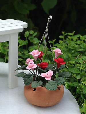 Miniature Dollhouse FAIRY GARDEN ~ Pink Lilies Lily Flowers in Hanging Pot ~ NEW
