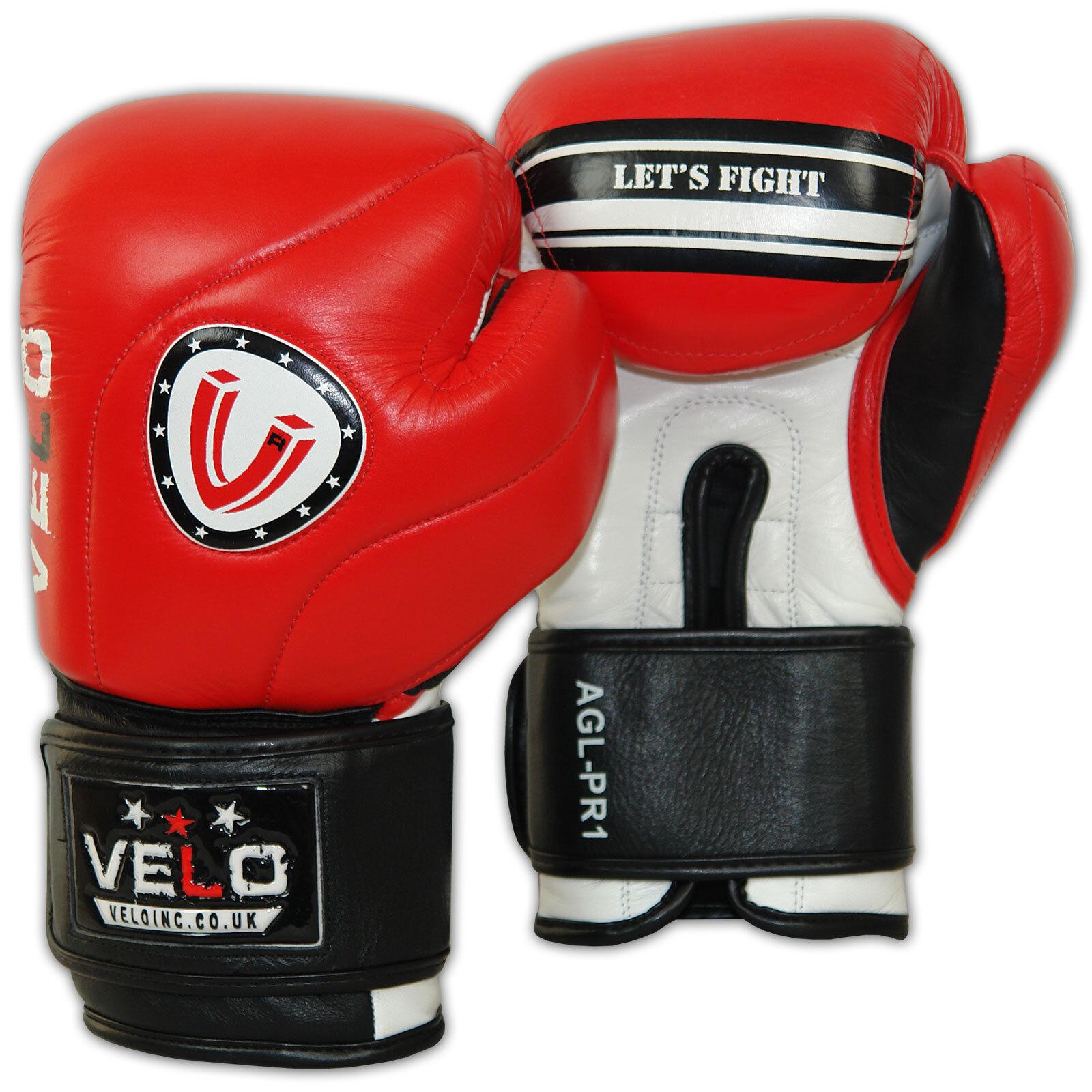 Velo Guantes de Boxeo Leather Sparring Saco de Boxeo Muay Thai Kick Boxing