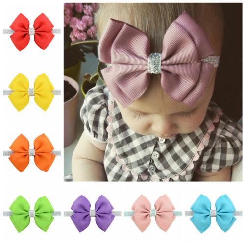 10PCS Kid Girl Toddler Baby Glisten Flower Bow Headband Hair Ribbon Headwear
