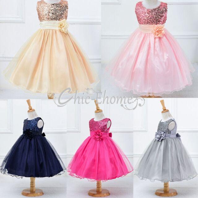 Blumen Mädchen Kinder Festkleid Hochzeit Prinzessin Kleid Maxi Partykleid 98-164