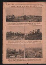 WWI Gare de Grinde Wagons d'Obus Explosion / Caricature Chasse 1919 ILLUSTRATION
