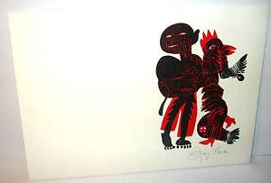 WOLFGANG-SIMON-Original-Farbholzschnitt-Herbstrosen-amp-Schafmist-SIGNIERT-K16
