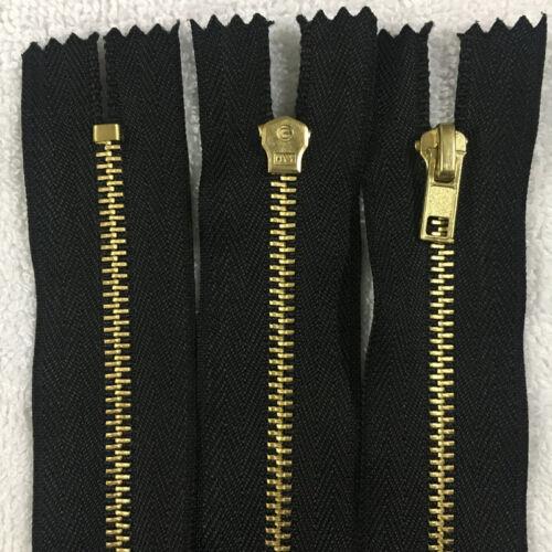 30-60CM Brass Metal 3# Closed End Zipper On Black Nylon Coil Zipper 5-20pcs