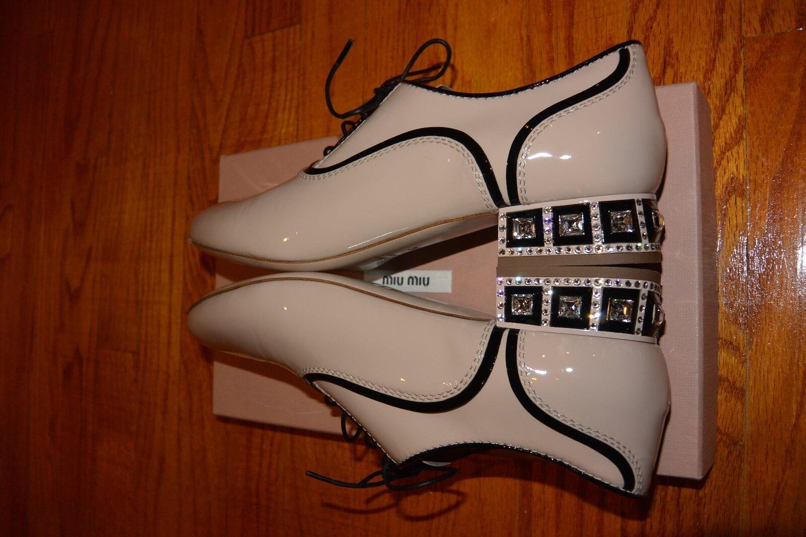 NIB MUI MUI Oxford Shoe with Crystals Heel AUTH