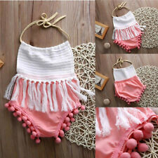 Newborn Toddler Baby Girls Bodysuit Tassels Strap Romper Jumpsuit Outfit Clothes