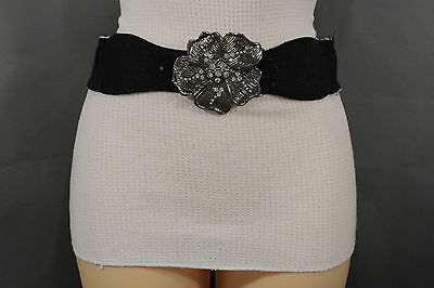 Women BLack Denim Fabric Belt Silver Big Flower Metal Statement Buckle Size XS S