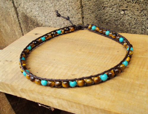 Turquoise and tiger eye Anklets,Stone anklets,Leather anklets