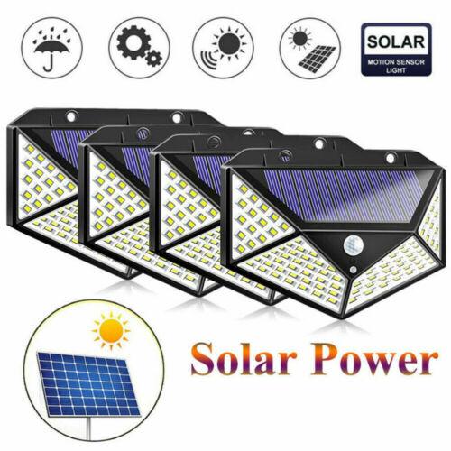 100 LED PIR Sensor Wall Light Solar Power Waterproof Outdoor Garden Lamp
