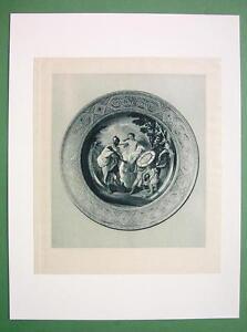 VANDERBILT-COLLECTION-Nude-Mars-Venus-on-Porcelain-Plate-Antique-Print
