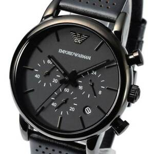 d4e40cb9b3e0 NEW EMPORIO ARMANI AR1737 Mens Watch Matte Black Leather Chronograph ...
