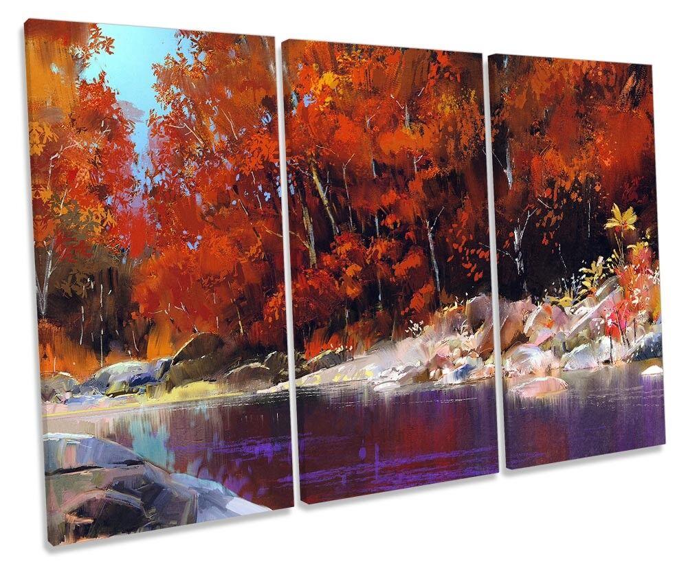 Orange Forest River Landscape Framed TREBLE CANVAS PRINT Wall Art