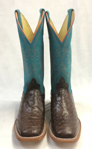 Chocolate Impostrich w//Turquoise Tops Style HPY7083 Youth Horsepower Boots