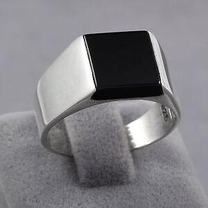 ab53e383fe1 Image is loading Minimalist-Black-Onyx-925-Sterling-Silver-Men-039-