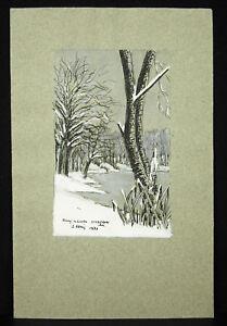 J-Bassi-View-Pond-Noue-near-Vouzeron-Cheap-1977-Drawing-Original-Gouache