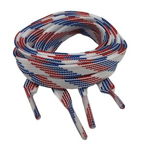 FLAT RED WHITE BLUE SHOE LACES LONG