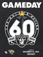 Raiders vs Jacksonville Jaguars  Program/ Flip Card-Last Oakland Game (12/15/19)