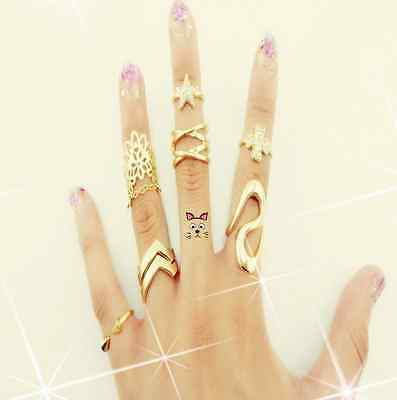 7pcs SET KNUCKLE RING FASHION PUNK URBAN GOLD SILVER STACK ABOVE BAND MIDI RINGS