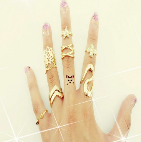 Woman Fashion 7PCS Gold Above Rings Infinity Midi Tip Above Knuckle Band Ring