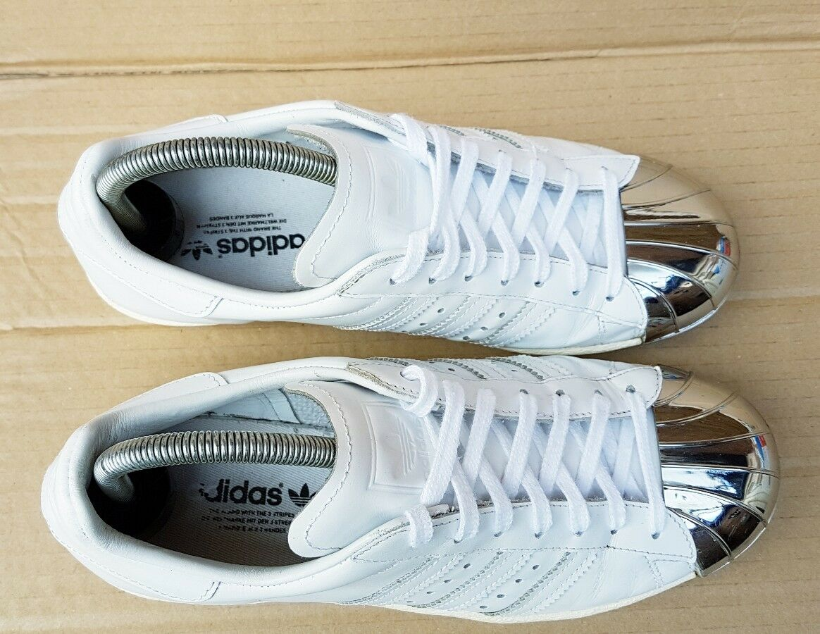 ADIDAS SUPERSTAR 80'S blanc AND argent METAL TOE TRAINERS IN Taille 4 UK RARE