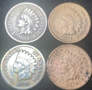4-INDIAN-HEAD-PENNYS-1859-1874-1878-1879-Sold-As-Pictured