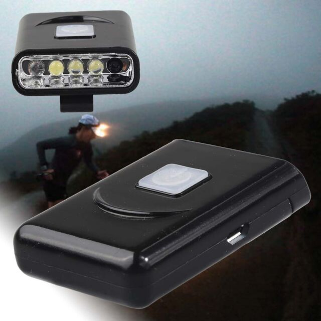 1x Rechargeable 5 LED Sensor Head Cap Hat Lamp Light USB Headlamp Torch Black PQ