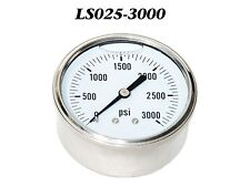 "New Hydraulic Liquid Filled Pressure Gauge 0-3000 PSI 1/4"" NPT Center Back Mount"