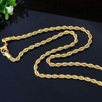 1PC Fashion Stainless Steel Gold Plated Twisted Rope Chain Necklace 56cm