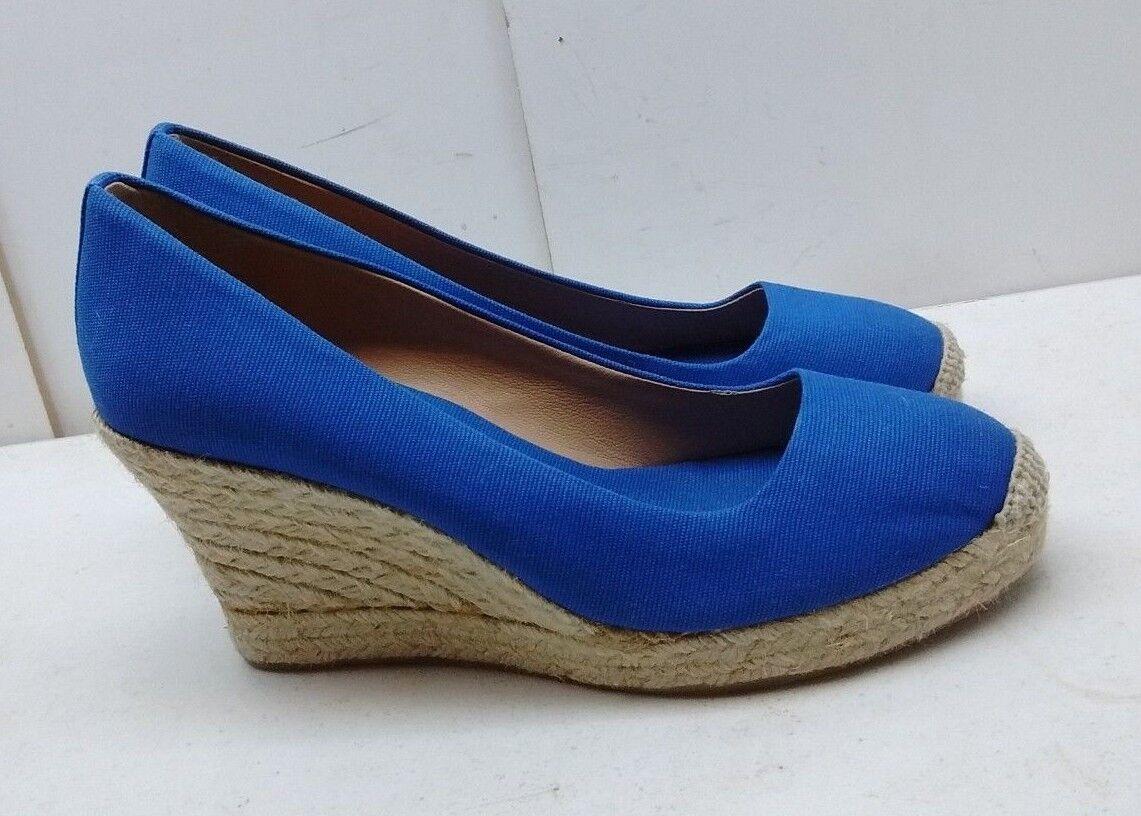 J CREW Factory bluee Canvas Slip On Espadrilles Wedges Casual Women shoes Size 8M