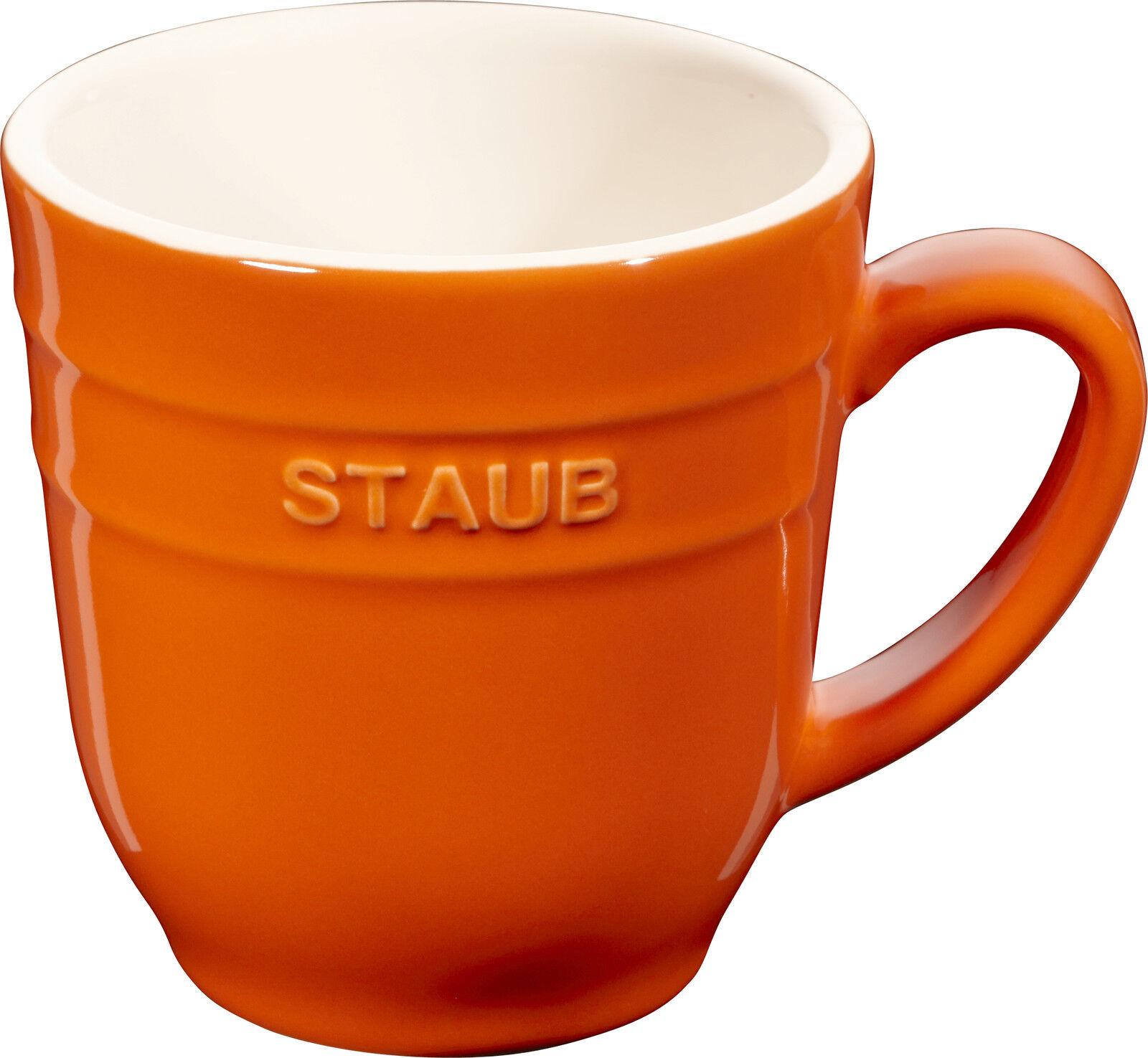 4 Set STAUB céramique Gobelet Tasse à café tasse ROND Orange 0,35L
