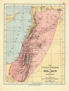 1878 Viktorianisch Landkarte ~ Die United Königreich Von Saul David Und Solomon