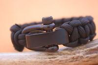 PARACORD Black 550lb Survival Bracelet w/adjustable stainless buckle shackle
