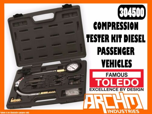 TOLEDO 304500 COMPRESSION TESTER KIT DIESEL PASSENGER VEHICLES ENGINES