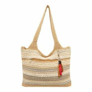 The Sak Casual Classics Large Crocheted Tote Bag Sand Stripe 1 - NWT Authentic