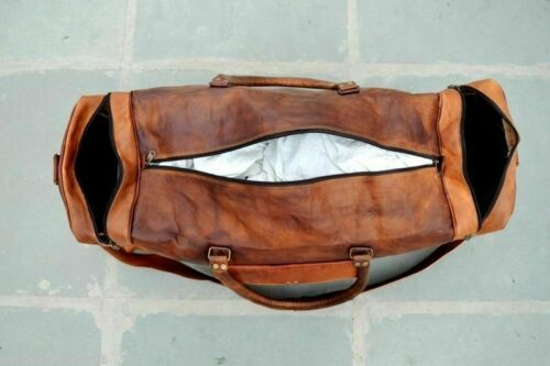 """Nouveau 24/"""" Homme Cuir Véritable Marron Voyage Gym Sport Bagages week-end Duffle Bag"""