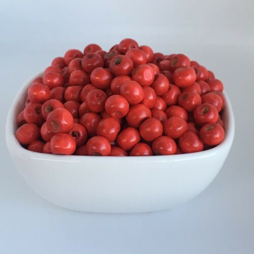 100pcs Red Wooden Beads 7x5mm Rondelle Wood Bead For DIY Macrame Craft