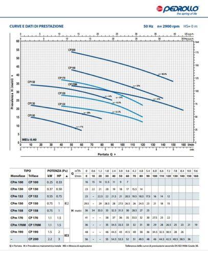 Elettropompa Centrifuga Pedrollo CPM 190 2 Cavalli Hp Corpo Ghisa Monofase