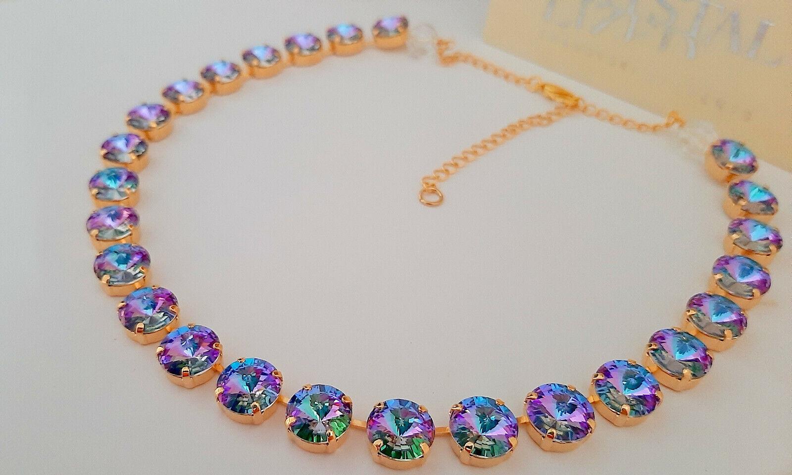 Light Vitrail Rivoli Necklace w/ Swarovski Crystals • Edwardian Tennis Choker