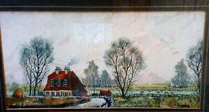 Original-John-Tookey-Watercolour-and-Ink-Landscape-Painting-Darenth-Kent-c-1960s
